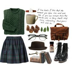 """All the Trees"" by throwmeadream on Polyvore *Might work if I pair my red and white plaid with combats and a fishing sweater...*"