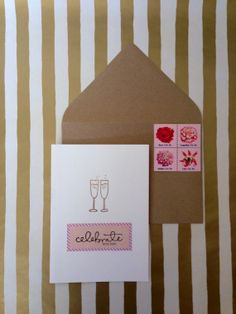 Champagne Toast Card  Hand stamped and Embossed  by RHCollection, $4.50