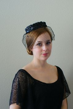 Vintage 1960s Hat   Black Woven Net Pillbox  by Sweetbeefinds, $26.00