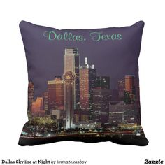 Dallas Skyline at Night Throw Pillow  #dallas #skyline #reunion #tower #texas #dtx #souvenir #night #cityscape #buildings #architecture #city #home #decor #dusk #highrise #pillow