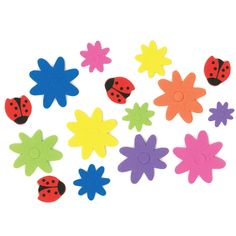Fabulous Foam Adhesive Flowers and Ladybugs Shapes (80+) :  You'll love these cute foam critters! These 5.1 cm self-adhesive shapes come in ladybug and flower designs.  (80+ pcs)
