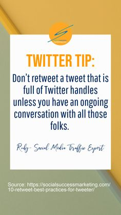 Don't retweet a tweet that is full of Twitter handles unless you have an ongoing conversation with all those folks. #SocialMediaContentTips #sme #onlinebusiness #Twitter Twitter For Business, Business Tips, Online Business, Social Media Content, Social Media Marketing, Twitter Tips, Best Practice, Tweet Quotes, Words