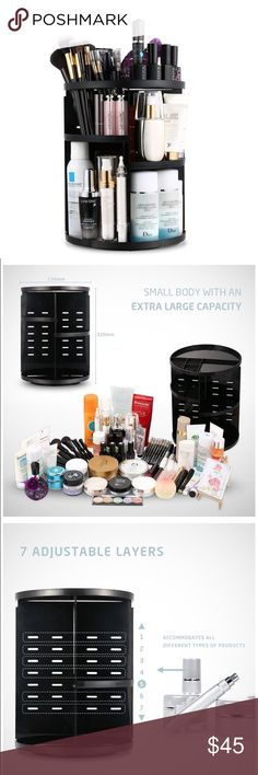 360 Rotation 7 layers Cosmetic Organizer😘❤️ 360° ROTATION ORGANIZER: Perfectly organizes and stores your cosmetics;  EXTRA LARGE CAPACITY: Accommodates at least 30 makeup brushes, 20 bottles of skin care products and other makeup  7 LAYERS OF ADJUSTABLE TRAYS: Allow you to adjust tray height according to the height of your products;  GREAT CARRYING CAPACITY: Steady base ensures that cosmetics stay in place when the organizer is rotated; thick, durable trays are strong enough to bear even…