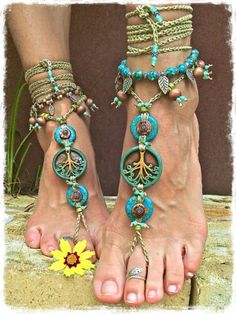 Yggdrasil TREE of life BAREFOOT SANDALS Turquoise Stone artisan tan crochet sandals foot jewelry Boho beach sandal Earthy Wedding Naturalist Crochet Barefoot Sandals, Hippie Chic, Hippie Style, Beaded Anklets, Bare Foot Sandals, Ceramic Beads, Ankle Bracelets, Turquoise Stone, Boho Jewelry