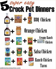 BBQ Chicken Chicken breasts (boneless,skinless) 16 oz bottle of BBQ Sauce (we like Sweet Baby Rays) cup Zesty Italian Dressing cup brown sugar Mix together ingredients. Put in crock pot. Cook low: hours or on Crockpot Dump Recipes, Crockpot Dishes, Crock Pot Cooking, Crock Pot Dump Meals, Crockpot Bbq Chicken, Diet Recipes, Cooking Steak, Cooking Turkey, Crockpot Chicken Leg Recipes