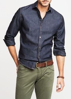 Men's Navy Chambray Long Sleeve Shirt, Olive Chinos, Dark Brown Leather Belt