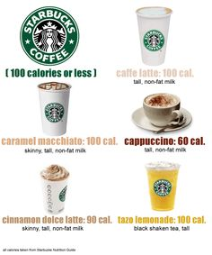 """Starbucks for 100 calories or less did not quite know where to put this.since Starbucks is my favorite place and these are 100 calories or less I decided to make it """"health"""" Healthy Starbucks Drinks, Yummy Drinks, Healthy Drinks, Healthy Snacks, Healthy Eating, Healthy Recipes, Starbucks Calories, Healthy Breakfasts, Protein Snacks"""