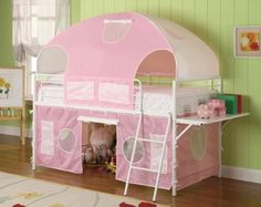 White Finish Metal Loft Bunk Bed With Pink Tent For Girls Kids