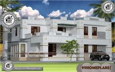 Ideas for House Design Two Storey House With Floor Plan Designs Two Storey House Plans, 2 Storey House Design, House Front Design, Small House Design, Home Design Images, House Design Pictures, Design Ideas, Simple Bungalow House Designs, Modern Bungalow House Plans