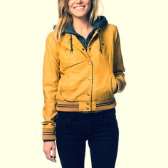 Calling all Color Lovers: You need this jacket for Spring. (Pictured: #Obey Varsity Lover Amber Gold Leather Jacket)