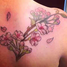 Cherry blossoms by Tegan Beyer www.teganink.com Flower Tattoo On Side, Flower Tattoos, Unique Tattoos, Cool Tattoos, Awesome Tattoos, Mastectomy Tattoo, Thigh Piece, Side Tattoos, Tattoo Inspiration