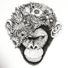 My latest drawing Botanical chimpanzee #chimpanzee #ape #monkey #draw #ifindbliss #art #artist #black #blackandwhite #tattoo #ink #noahsart #japanese #animal #instacool #instaink @ifindbliss