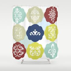 Crown Jewels - White Shower Curtain -   See all products with this design in our shops www.cafepress.com/drapestudio adn www.zazzle.com/drapestudio adn www.society6.com/drapestudio and www.etsy.com/shop/drapestudio AND for Fabric by the Yard www.spoonflower.com/profiles/drapestudio OR visit our main site www.drapestudio.com