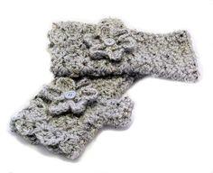 Fingerless texting gloves with flower  crocheted  by JNOriginals, $20.00