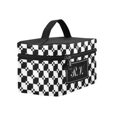 Monogram Funky Black & White Diamond Pattern Cosmetic Bag/Large (Model 1658)