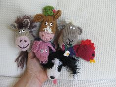 Ravelry: Down on the Farm Animal Finger Puppets ... sheep, cow, horse, sheepdog, pig, hen pattern by Lindsay Mudd