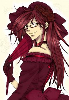 ((...I just realized how pretty Grell looks in a dress.)) Is this a guy or a girl? I can't tell, I seriously can't tell. ((It's a Grell, okay Jean? Get it right-))