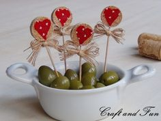 Recycling corks for toothpicks- idea for Valentine's Day or any holiday