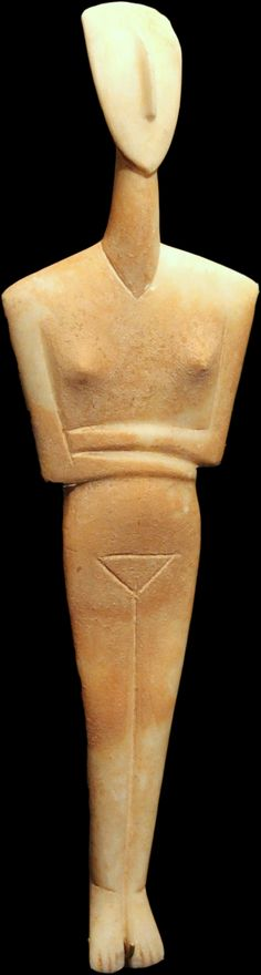 """Cycladic sculptures [Greece] ~ """"Female figurine"""", Canonical type, Dokathismata variety. Early Cycladic II period, Syros phase, 2800/2300 B.C. Marble. (39.1 cm). Goulandris Museum of Cycladic Art, Athens. 