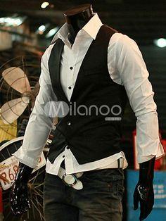 Classic Pure Black Cotton Blend V-neck Men's Vest - Milanoo.com