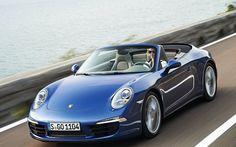 2013-Porsche-911-Carrera-4-Convertible-Cruising-Front-High-Angle