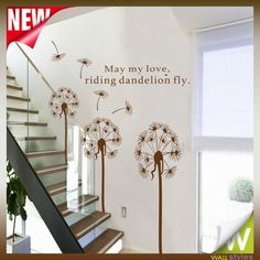 Flower Tree Dandelion Wall Stickers For Bedroom & Stairs Hall Decor Art Decals