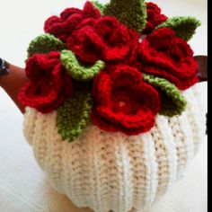 Blood Red Roses - hand knitted tea cosy in pure wool by Tafferty Designs. Great gift idea!  http://www.taffertydesigns.etsy.com  http://www.facebook.com/taffertydesigns