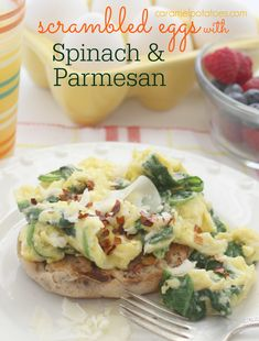 Scrambled Eggs with Spinach and Parmesan- I love this for Breakfast, Lunch or Dinner!