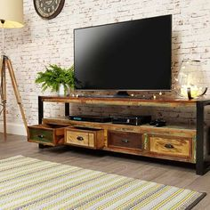 urban chic reclaimed wood open widescreen television cabinet tv unit baumhaus space