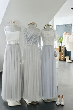 Wedding dresses with flowing soft-tulle in gray, silver and light blue, for a . Wedding dresses with flowing soft tulle in gray, silver and light blue, for a modern wedding. Chiffon Wedding Gowns, Wedding Dresses, Gown Wedding, Tulle Wedding, Grecian Wedding, Ball Dresses, Ball Gowns, Evening Dresses, Buy Wedding Dress Online