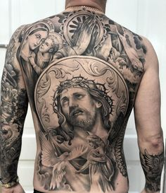 Precise and Elegant Tattoos by Matt 'Skinny' Bagwell Chicano Tattoos, Irezumi Tattoos, Body Art Tattoos, Sleeve Tattoos, Geisha Tattoos, Back Tattoos For Guys, Full Back Tattoos, Great Tattoos, Catholic Tattoos