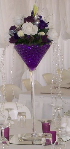 tall martini glass vases for centerpieces Floral arrangement . Succulent Centerpieces, Party Centerpieces, Wedding Decorations, Centerpiece Wedding, Deco Floral, Floral Design, Martini Glass Centerpiece, Wine Glass Centerpieces, Purple Wedding