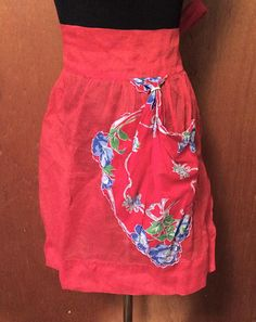 30s 40s Vintage Red Organdy Sheer Apron with Floral Silk