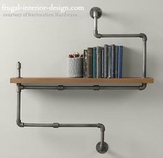 Repurposed Plumbing Pipe As Floating Shelf Brackets