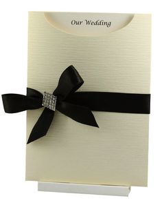Cream & Black Pocket Wedding Invitation