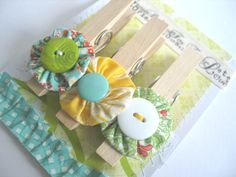 Yoyo Flower Decorated Clothes Pins