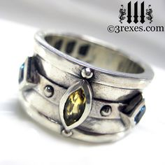 Moorish Medieval Silver Ring Citrine Blue Topaz by 3RexesJewelry, $150.00. So sad it's too small!!  EPB