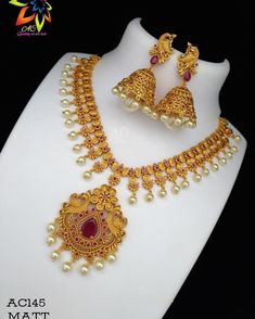 Gold Jewelry In Nepal Info: 5273543360 Gold Jhumka Earrings, Jewelry Design Earrings, Gold Earrings Designs, Gold Necklace, Necklace Designs, Gold Mangalsutra, Simple Necklace, Necklace Set, 1 Gram Gold Jewellery