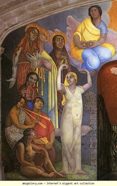 Diego Rivera. Creation. / La creación. Detail. 1922-3. Encaustic and gold leaf. Anfiteatro Simón Bolívar, Escuala Nacional Preparatoria, Colegio de San Ildefonso, Mexico City, Mexico.