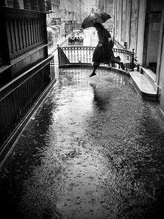 """luzfosca: """" Rui Palha Wet Jump, Lisbon, Portugal From Rainy days """" Rainy Day Photography, Rain Photography, Vintage Photography, Photography Photos, Landscape Photography, Fashion Photography, Wedding Photography, Walking In The Rain, Singing In The Rain"""