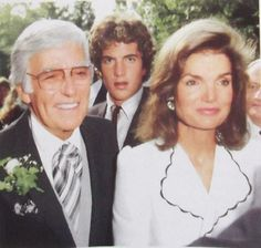 Jackie and John Kennedy, Jr. and Peter Lawford at Sydney Lawford's wedding - September 17, 1983