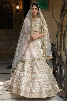 Buy Cream Raw Silk Bridal Lehenga Choli with Double Dupatta @ the best price from saree.com by asopalav Bridal Lehenga Choli, Special Occasion, Sari, Indian, Crop Tops, Skirts, How To Wear, Dresses, Women