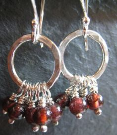 Artisan Handmade Garnet and Sterling Silver Earrings cluster dangle red gemstone wire wrapped hammered hoops small every day petite light    $23