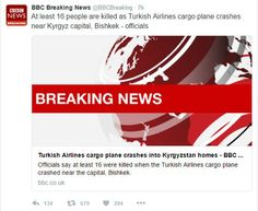 Turkish officials, social media users condemn media outlets for false report on plane crash (BBC creates false news as usual)