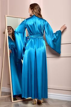 Lace Bridal Robe, Bridal Robes, Bridal Gown, Satin Nightie, Satin Sleepwear, Sexy Night Dress, Night Gown, Wedding Kimono, Lehnga Dress