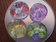 Set of four floral magnets by prettythingsbyQ on Etsy, $12.00