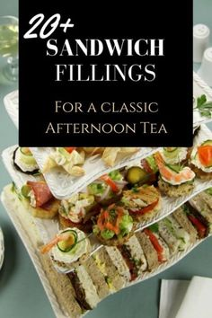 Classic High Tea Sandwiches for Vintage High Tea Events and Elegant Tea Parties…. Classic High Tea Sandwiches for Vintage High Tea Events and Elegant Tea Parties. Easy sandwich fillings used by professional caterers. High Tea Sandwiches, Finger Sandwiches, English Tea Sandwiches, Sandwiches Afternoon Tea, Breakfast Sandwiches, Roast Beef Tea Sandwiches, Bridal Shower Sandwiches, Picnic Sandwiches, Cucumber Sandwiches