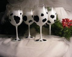 hand painted wine glasses with cow print - set of 4