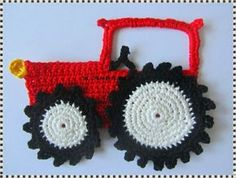 crochet inspiration: A Tractor Applique does bentley want some of these for wall. crochet inspiration: A Tractor Applique does bentley want some of these for wall in green and yellow. Crochet Car, Gilet Crochet, Crochet For Boys, Cute Crochet, Crochet Crafts, Crochet Toys, Crochet Projects, Diy Crafts, Appliques Au Crochet