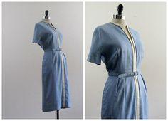1940s Dress  1950s Dress  Vintage Blue Linen by L'Aiglon